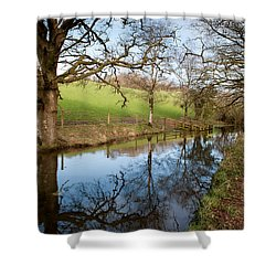 Canal Reflections Shower Curtain by Helen Northcott