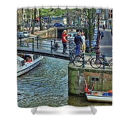 Shower Curtain featuring the photograph Amsterdam Canal Scene 1 by Allen Beatty
