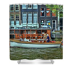 Shower Curtain featuring the photograph Amsterdam Canal Scene 10 by Allen Beatty