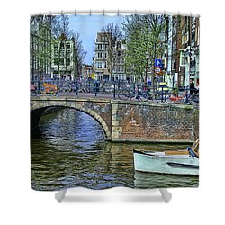 Shower Curtain featuring the photograph Amsterdam Canal Scene 3 by Allen Beatty