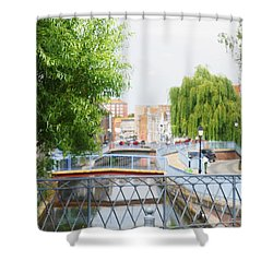 Shower Curtain featuring the photograph Canal View In Amiens by Therese Alcorn