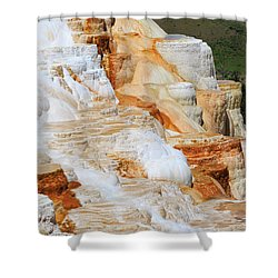 Canary Spring Mammoth Hot Springs Upper Terraces Shower Curtain by Louise Heusinkveld