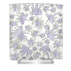 Canary Vine Leaves - Purple And Green Shower Curtain by Sandra Foster