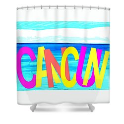 Cancun Poster T-shirt Shower Curtain by Dick Sauer
