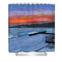 Shower Curtain featuring the painting Candidasa Sunset Bali Indonesia by Melly Terpening