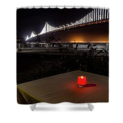 Shower Curtain featuring the photograph Candle Lit Table Under The Bridge by Darcy Michaelchuk