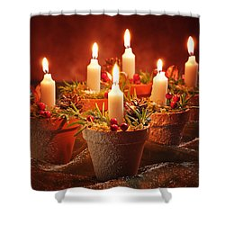Candles In Terracotta Pots Shower Curtain by Amanda Elwell