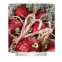 Candy Canes And Red Christmas Ornaments Shower Curtain