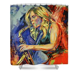Candy Dulfer, Lily Was Here Shower Curtain by Koro Arandia