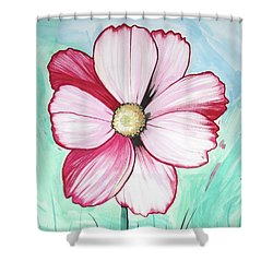 Candy Stripe Cosmos Shower Curtain