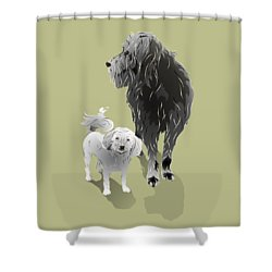 Shower Curtain featuring the digital art Canine Friendship by MM Anderson