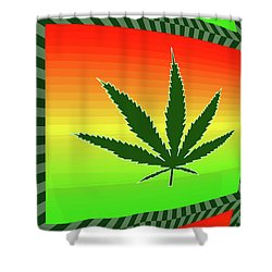 Shower Curtain featuring the mixed media Cannabis  by Dan Sproul
