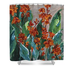 Shower Curtain featuring the painting Cannas by Jamie Frier