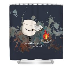 Cannibalism Is Sweet Illustrated Shower Curtain by Heather Applegate