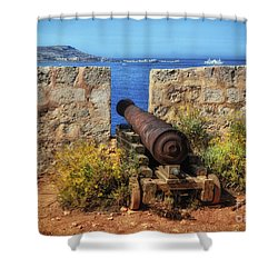 Cannon At Comino Battery Shower Curtain by Stephan Grixti