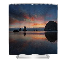 Cannon Beach Sunset Shower Curtain by David Gn