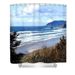 Cannon Beach Vista Shower Curtain by Will Borden