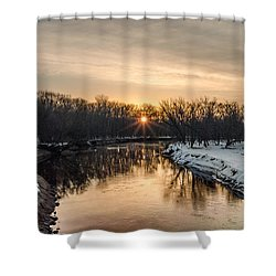 Cannon River Sunrise Shower Curtain