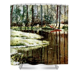Canoe On Pond Shower Curtain