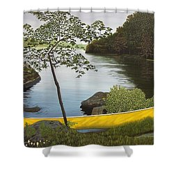 Canoe On The Bay Shower Curtain