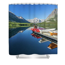 Canoe Reflections Shower Curtain by Alpha Wanderlust
