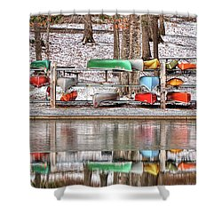 Canoe Reflections Shower Curtain