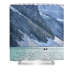 Canoeing On Lake Louise Shower Curtain