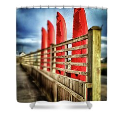 Canoes And Walkway, Surf City, North Carolina Shower Curtain
