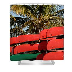 Canoe's At Flamingo Shower Curtain by David Lee Thompson