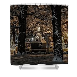 Shower Curtain featuring the photograph Canopy Of Christmas Lights by Kendall McKernon