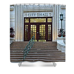 Shower Curtain featuring the photograph Can't Fight City Hall by Frozen in Time Fine Art Photography