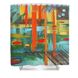 Shower Curtain featuring the painting Cantaloupe Island by Erin Fickert-Rowland