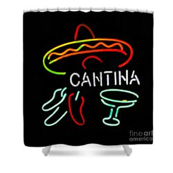 Cantina Neon Sign Shower Curtain