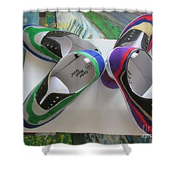 Shower Curtain featuring the painting Canvas Shoe Art  - 006 by Mudiama Kammoh
