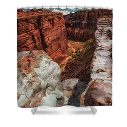 Canyon Lands Quartz Falls Overlook Shower Curtain by Gary Warnimont
