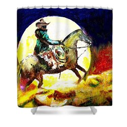 Shower Curtain featuring the painting Canyon Moon by Seth Weaver