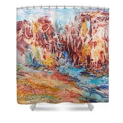 Canyon Mouth Shower Curtain by Becky Chappell