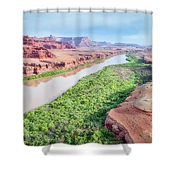 Canyon Of Colorado River In Utah Aerial View Shower Curtain