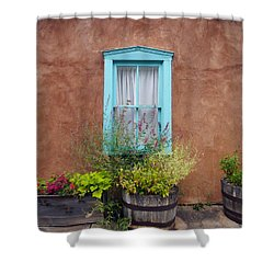 Shower Curtain featuring the photograph Canyon Road Blue Santa Fe by Kurt Van Wagner