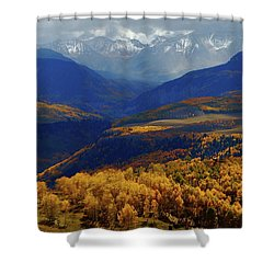 Canyon Shadows And Light From Last Dollar Road In Colorado During Autumn Shower Curtain