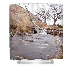 Canyon Stream Falls Shower Curtain by Ricky Dean