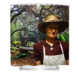 Canyon Woman Shower Curtain by Timothy Bulone