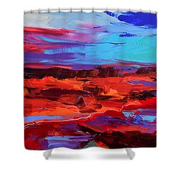 Shower Curtain featuring the painting Canyon At Dusk - Art By Elise Palmigiani by Elise Palmigiani