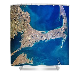 Cape Cod And Islands Spring 1997 View From Satellite Shower Curtain by Matt Suess
