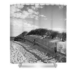 Cape Cod Beach Entry Shower Curtain by Mircea Costina Photography