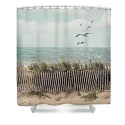 Cape Cod Beach Scene Shower Curtain by Juli Scalzi