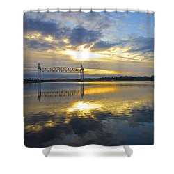 Cape Cod Canal Sunrise Shower Curtain by Amazing Jules