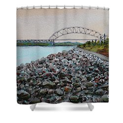 Cape Cod Canal To The Bourne Bridge Shower Curtain