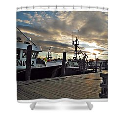 Cape Cod Harbor Shower Curtain by Joan  Minchak