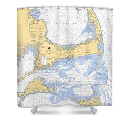 Cape Cod, Martha's Vineyard And Nantucket Nautical Chart Shower Curtain